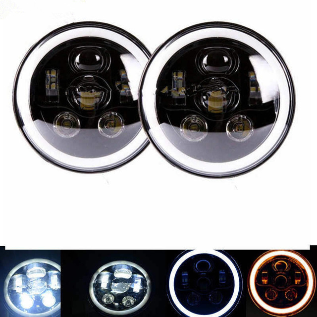2018 New Car Accessories 7 inch Headlight White Amber Halo Angel Eyes Headlamp For Jeep Wrangler Hummer for Land rover defender