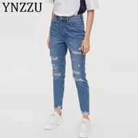 YNZZU Casual Ripped Jeans for Women 2019 New High Waist Button Fly Large Hole Boyfriend Denim Harem Pants Women Jean Femme AB166