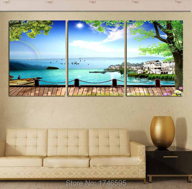 Lake Wall Art aliexpress : buy big living room home wall decor art the lake