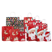10pcs/lot Merry Christmas Paper Bags 27*21*11cm Santa Claus Elk Pattern Cookies Gift Packing Bag Supplies For Party