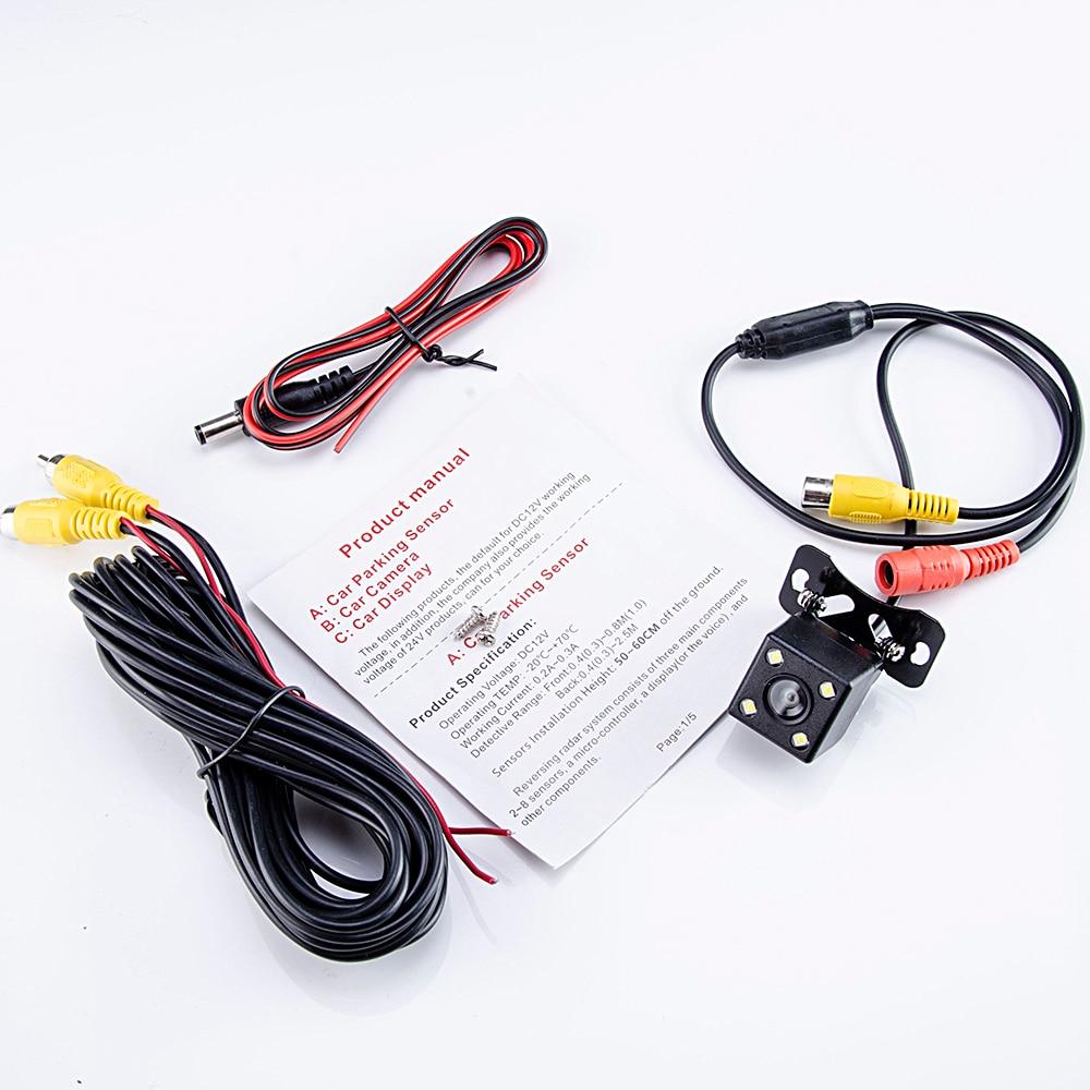 Hipppcron Автомобильная камера заднего вида 4 светодиодный монитор ночного видения заднего вида Авто парковочный монитор CCD водонепроницаемый 170 градусов HD видео