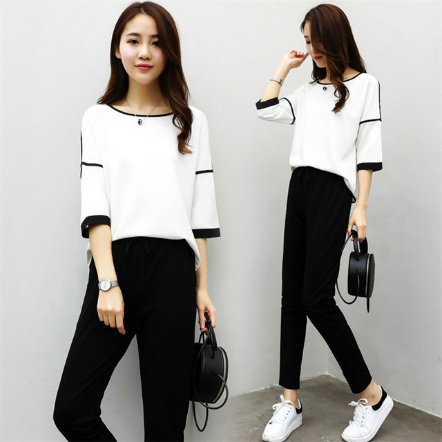 7d9e8f17ebed 2019 Chiffon Women Sets Elegant Office Fashion Sets Long Sleeve Tops+wide  Leg Pants Trousers Two Piece Black White Casual Suits