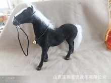 new simulation horse toy black war horse doll gift about 33x30cm