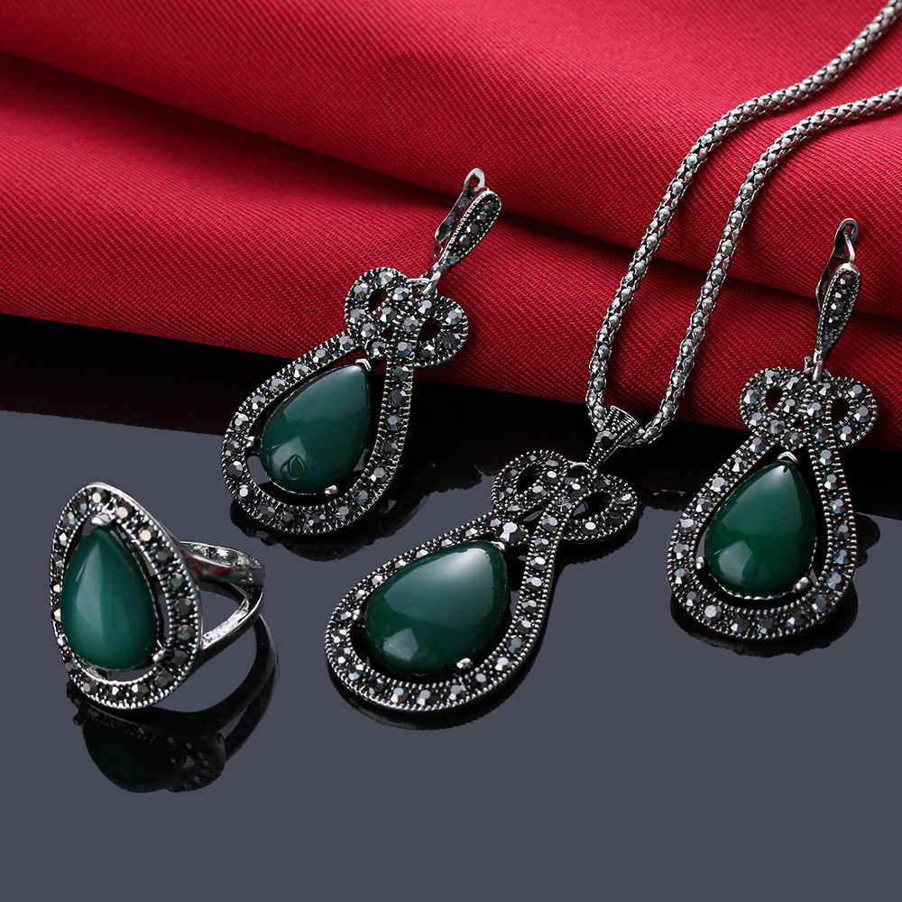1Set Retro Jewelry Set Green Blue Black Color Rhinestone Bridal Necklace Vintage Drop Earrings For Women Bohemian Rings