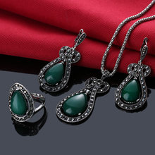 1Set Retro Jewelry Set Green Blue Black Color Rhinestone Bridal Necklace Vintage Drop Earrings For Women Bohemian Rings(China)