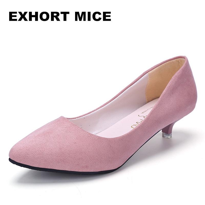2018 Women Shoes Pointed Toe Pumps Suede Leisure Dress Shoes High Heels Boat Wedding Tenis Feminino Matt  3cm Mary Janes
