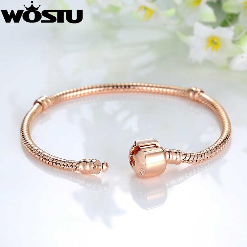 2019 gorąca sprzedaż 16-21cm różowe złoto kolor i srebro zawieszka w kształcie węża koralik Fit oryginalna bransoletka biżuteria prezent dla kobiet XCH9007
