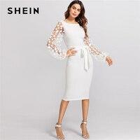 SHEIN Flower Applique Mesh Sleeve Dress White Boat Neck Lantern Sleeve Belted Plain Dress Women Elegant