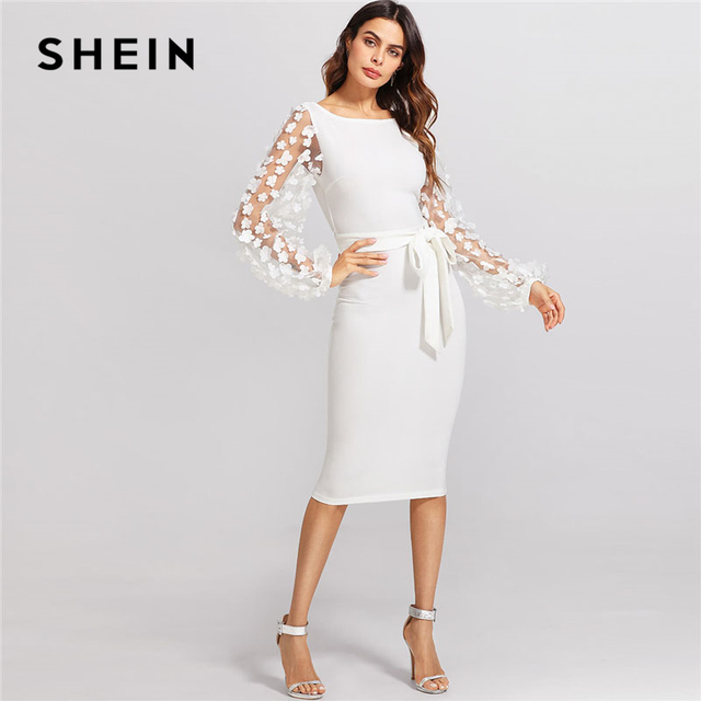 d1fcbf61db95 SHEIN Flower Applique Mesh Sleeve Dress White Boat Neck Lantern Sleeve  Belted Plain Dress Women Elegant Party Slim Dress