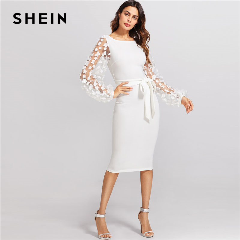 SHEIN Flower Applique Mesh Sleeve Dress White Boat Neck Lantern Sleeve Belted Plain Dress Women Elegant Party Slim Dress