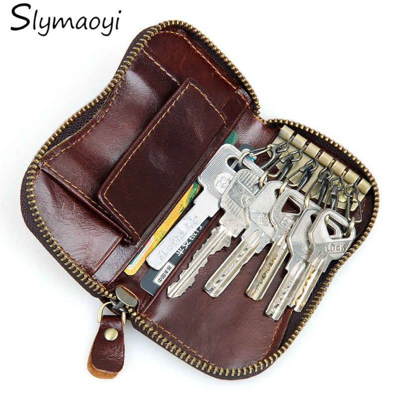 100 genuine leather purse zipper key wallets women key holder men car keys bag mens key case casual package head layer cowhide - Horses Head Pillow