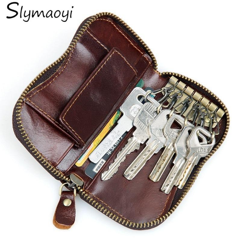 100% Genuine Leather Purse Zipper Key Wallets Women Key Holder Men Car Keys Bag Men's Key Case Casual Package Head Layer Cowhide