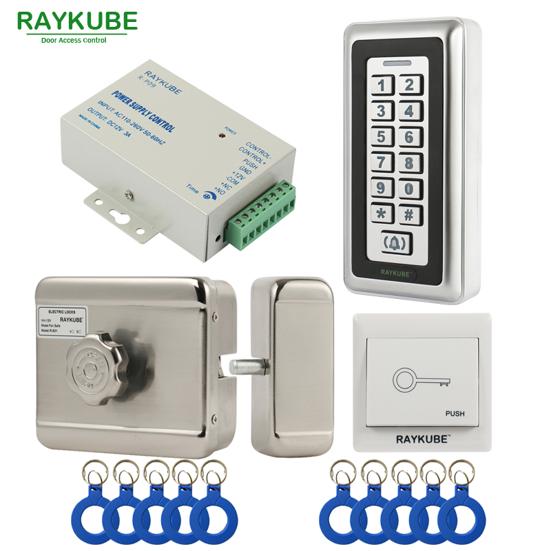 RAYKUBE Electric Motor Lock RFID Access Control System Kit + Metal Password Keypad+Exit Button+ID Keyfobs Electric Lock Full Kit diysecur magnetic lock door lock 125khz rfid password keypad access control system security kit for home office