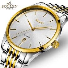 Top Brand Sollen мужчин из нержавеющей стали спортивные часы мужчины механическая автоматическая Водостойкой календарь Бизнес Relogiomasculino