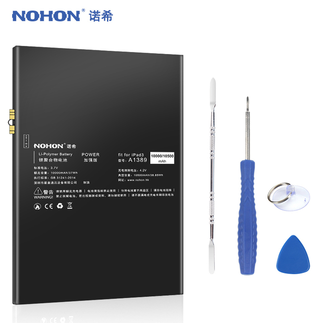 NOHON Pin Cho iPad 3 4 iPad3 iPad4 3RD A1389 A1403 A1416 A1430 A1458 A1459 10500 mAh Thay Thế Máy Tính Bảng Bateria công Cụ miễn phí