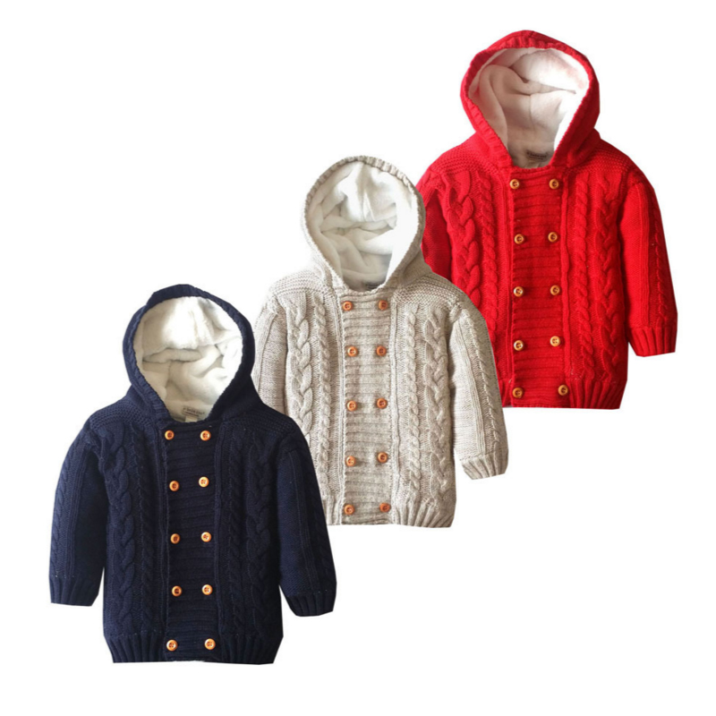 Trend Mark Children's Hooded Thick Sweater 12m To 4t Cotton Solid Double Breasted Sweater Autumn Winter Baby Boy Girl Children's Clothing Quell Summer Thirst
