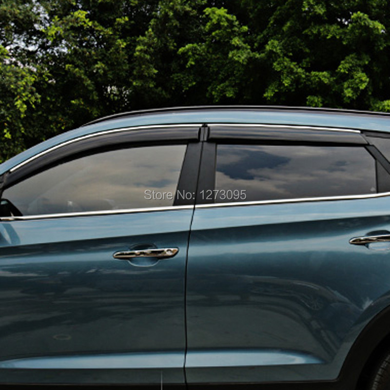 For 2015 2016 Hyundai Tucson Window Visor Vent Shades Sun Rain Deflector Guard Awnings Protector Exterior Car Styling Accessory 4pcs set smoke sun rain visor vent window deflector shield guard shade for cadillac xt5 2016 2017