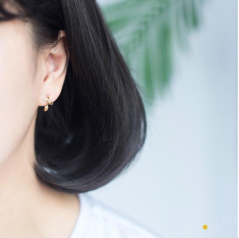 HFYK 925 Sterling Silver Earrings 2019 Fashion Gold Silver Leaf Stud Earrings For Women Small Earrings pendientes mujer brincos in Stud Earrings from Jewelry Accessories