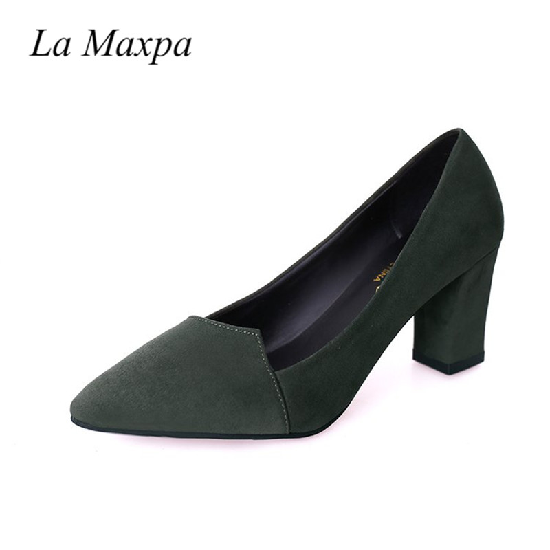 La Maxpa Summer Women Pointed Toe 7.2CM High heels Shoes Lady Shallow Pumps Ladies Sexy Irregular Flock Square Heel Shoes basic pump