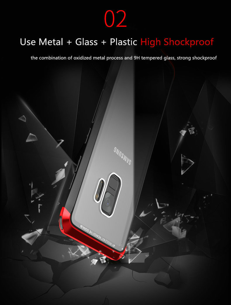 LUPHIE Case For Samsung Galaxy S9 Plus Metal Bumper Clear Tempered Glass Back Cover  (2)