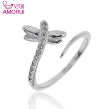 AMORUI Silver Color Open Ring CZ Stone Engagement Women Jewelry Ladies Copper Zircon Dragonfly Wedding Rings for Women Gift