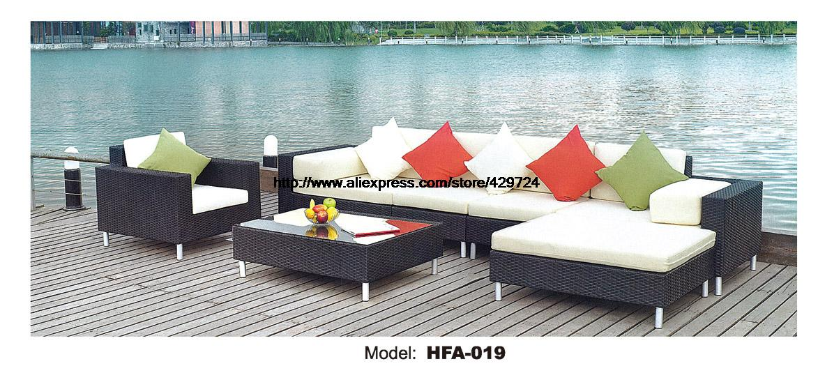 2016 L shaped Rattan Sofa Whole Set Include Table Cushions Garden Outdoor Patio Sofa Ratten Furniture Swing Pool Sofa Set white rattan sofa purple cushions garden outdoor patio sofa rattan furniture swing pool table chair rattan sofa set