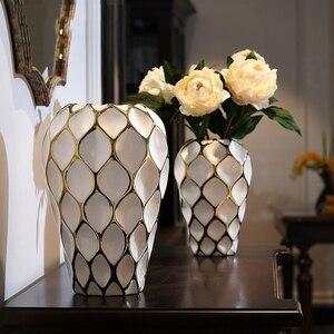 Moderno florero blanco de cerámica con espacio en blanco, flores secas hidropónicas, decoración moderna para mesa de comedor, cuenco flor para encimera