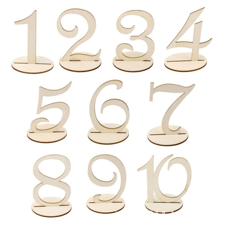 10pcs/set Wooden wedding Place holder table number figure card digital seat Signs Decoration For Party wedding supplies
