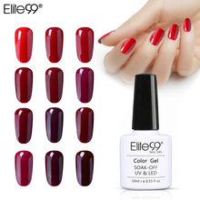 Elite99 10ml Nail Gel Polish Wijn Rode Kleur Semi Permanente Soak Off LED UV Gel Lak Elegante Nail Art manicure Gel Vernis(China)