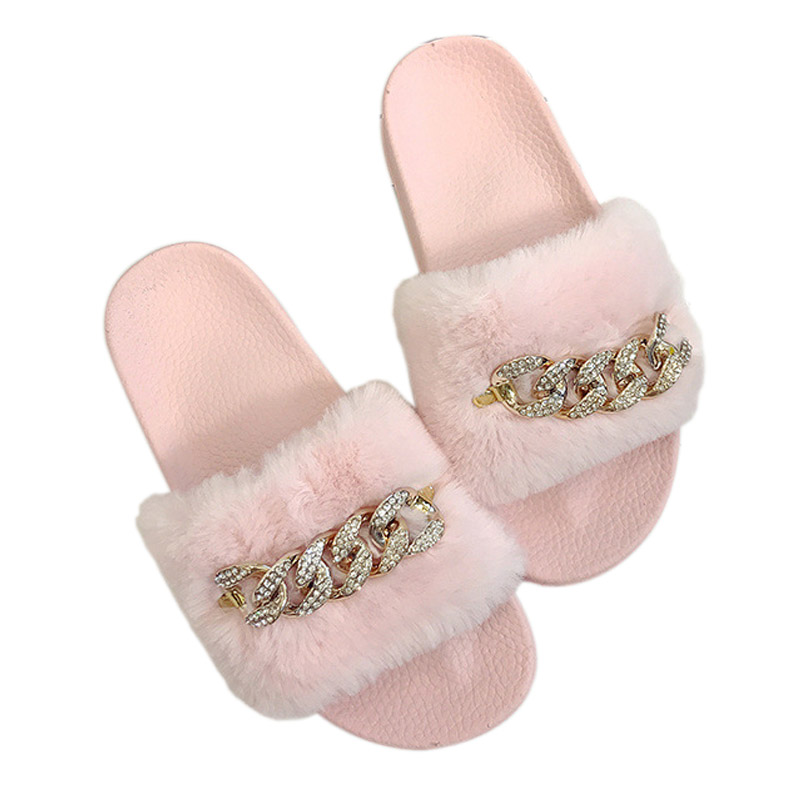 a7d86aa5bc7901 2017 New Arrival Women s Summer Furry Slippers Faux fur Slippers Brand  Fashion Diamond Chain Plush Slippers 3 Colors-in Slippers from Shoes on ...