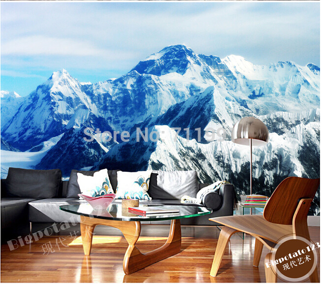 Custom photo wallpaper, wall Mount Qomolangma ice landscape for living room TV backdrop of vinyl wallpaper Papel de parede custom green forest trees natural landscape mural for living room bedroom tv backdrop of modern 3d vinyl wallpaper murals