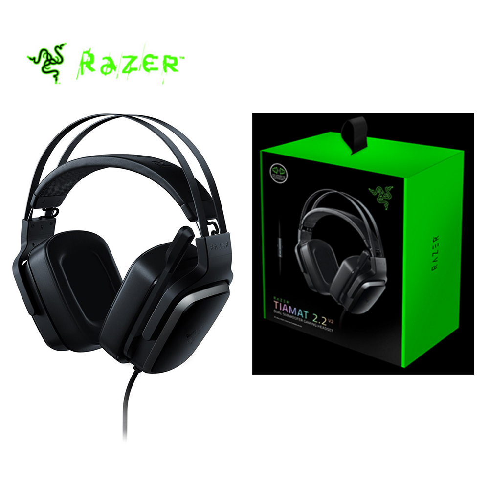 Razer Tiamat 2.2 V2 Analog Gaming Headset 7.1 Virtual Surround Sound with Microphone Gaming Headphone headset 4 x 50 mm drivers somic g951pink headphone 7 1 virtual gaming headphone female players wired usb headphone with microphone headsets 3d surround
