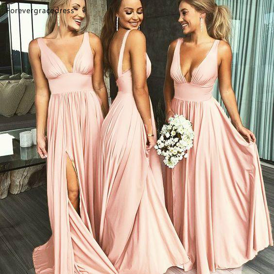 2019 Summer   Bridesmaid     Dress   A Line V Neck Chiffon Country Garden Formal Wedding Party Guest Maid of Honor Gown Plus Size