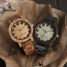 BOBO BIRD WN24N25 Wood Watch Zabra Ebony Wooden Watches for Men Eastern Arabic Numerals Dial Watch with Tool for Adjusting Size