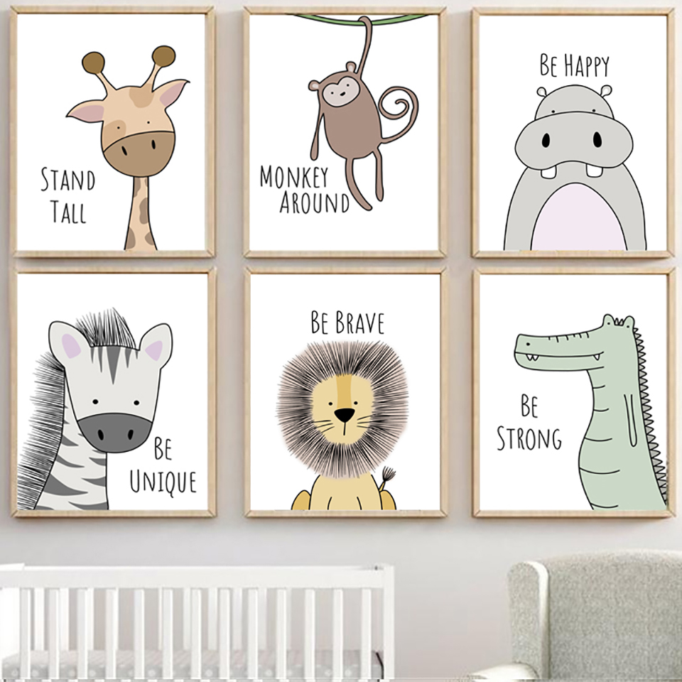 Watercolor Poster Pictures Modular Canvas Wall-Art Painting Cartoon Animal Prints Nordic-Style