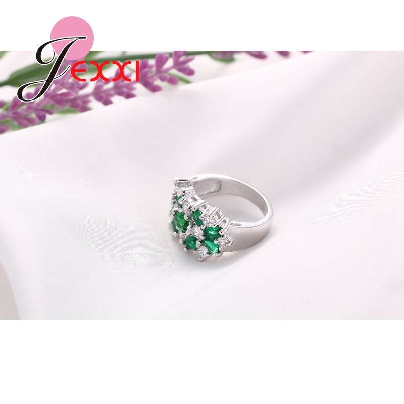 Hot Jual 925 Sterling Silver Wanita Engagement Wedding Rings Dengan - Perhiasan fashion - Foto 4