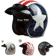 Бренд torc t50 шлем 3/4 старинные шлемы мужской женский гонки moto шлем capacete мотоциклетный шлем подходит мотокросс очки