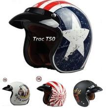 brand torc t50 helmet 3/4 vintage helmets male female racing moto helmet capacete motorcycle helmet fit motocross goggles