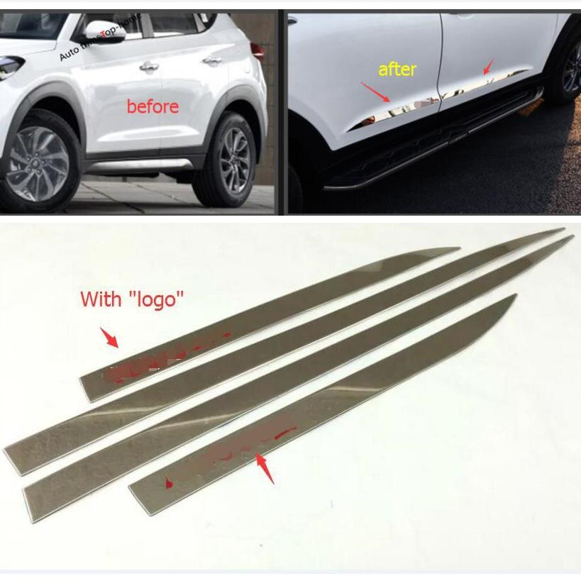 Yimaautotrims Side Door Molding Body Strip Streamer Lid Molding Cover Trim 4 Pcs Fit For Hyundai Tucson 2016 2017 2018 Exterior