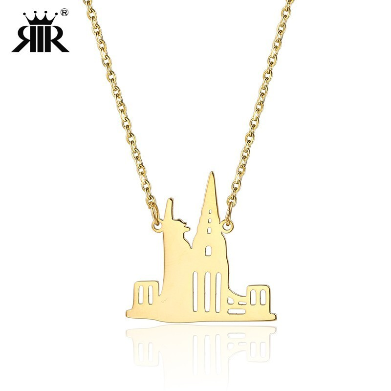 RIR Statue Of Liberty Necklace Fashion New York City USA America Freedom Jewelry Chrysler Building NYC Skyline Necklaces image