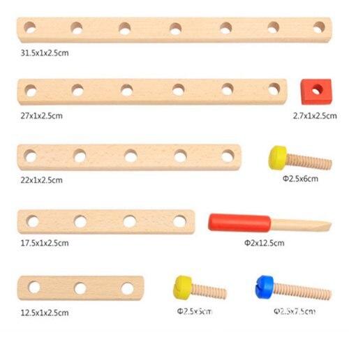 Vis en bois jouet éducatif bricolage assemblage montessori bébé intelligece variété multi-fonction écrou combinaison enfants puzzle - 3