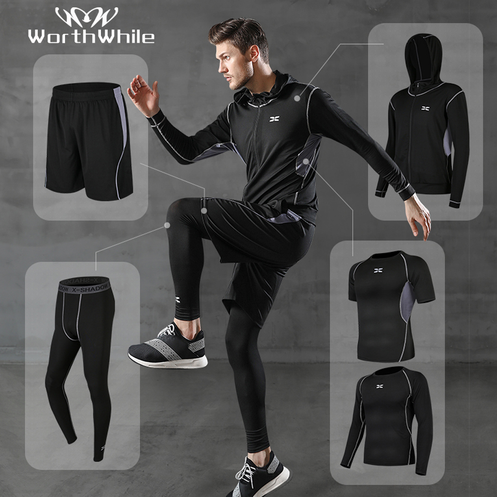 WorthWhile 5 Pcs/Set Men's Tracksuit Compression Sports Wear For Men Gym Fitness Clothes Running Jogging Suits Exercise Workout