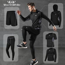 WorthWhile 5 шт./компл. Для мужчин спортивный костюм сжатия Спортивная одежда для Для мужчин тренажерный зал Фитнес одежда бег костюмы тренировки
