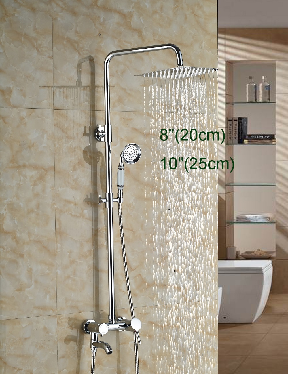 Wholesale And Retail Wall Mounted Chrome Finish Square Ultrathin Shower Head Faucet Tub Spout Valve Mixer Tap W/ Hand Unit wholesale and retail modern chrome finish 8 inch shower faucet set rain shower head w hand shower wall mount
