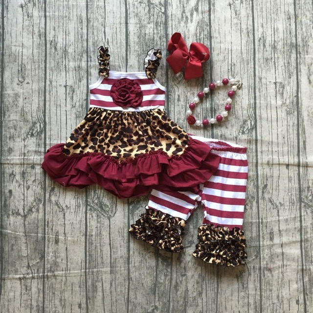 New arrival Bé gái trẻ em quần áo rượu vang leopard trẻ em capris trang phục burgundy sọc cotton ruffle boutique phù hợp với accessries