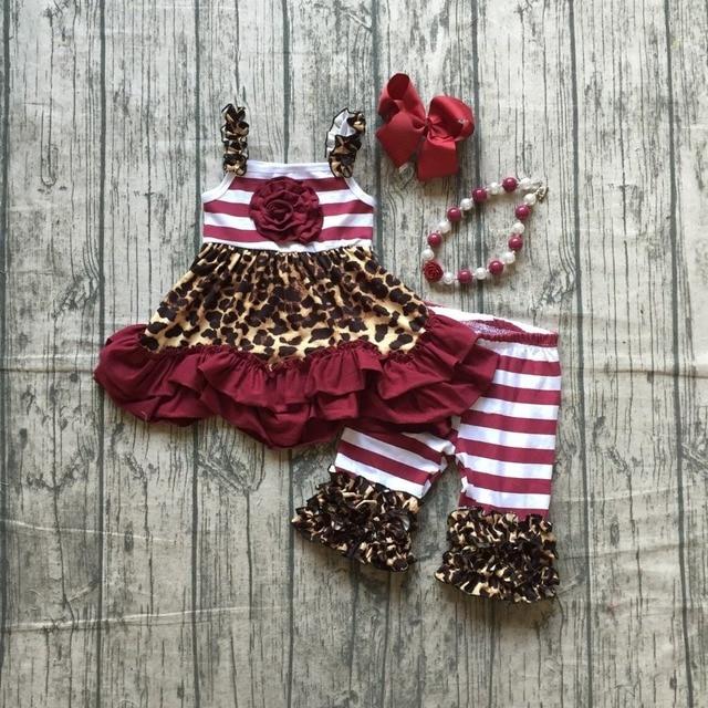 new arrival Baby girls children clothes wine leopard kids capris outfits burgundy stripe cotton ruffle boutique match accessries