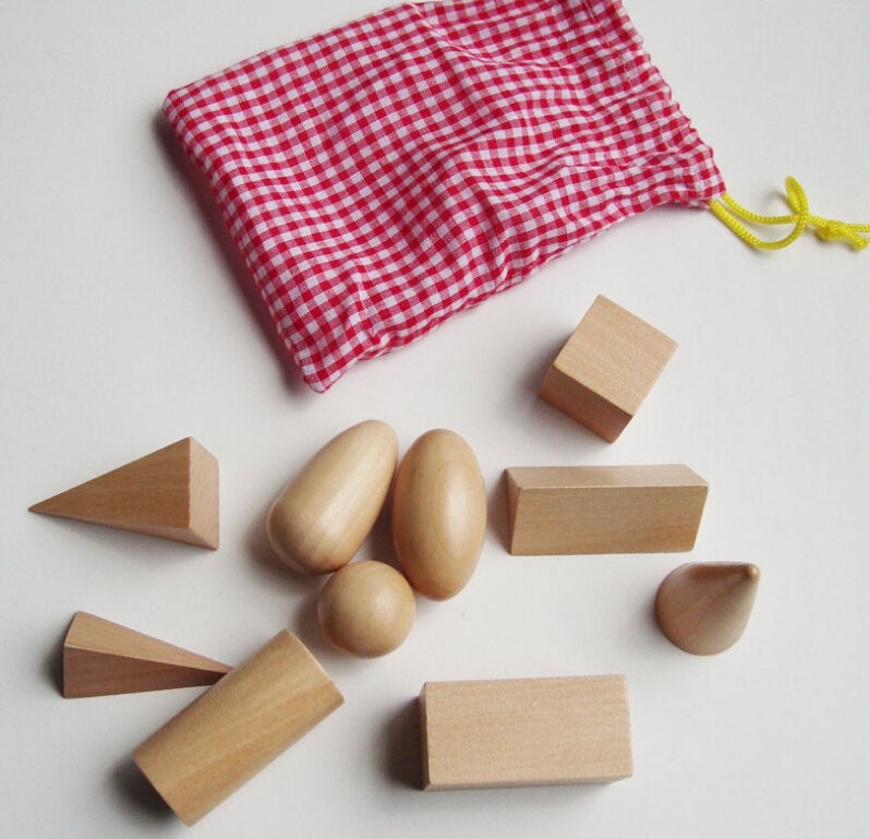 10pcs set Wooden Montessori Mystery Bag Geometry Blocks Set Educational Cognitive Toys Free Shipping