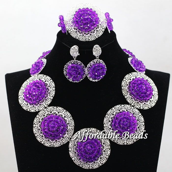 Silver Plated Womens Nigerian African Dubi Bridal Beads Wedding Jewelry Set Beaded  Party Costume Jewelry Sets hx120Silver Plated Womens Nigerian African Dubi Bridal Beads Wedding Jewelry Set Beaded  Party Costume Jewelry Sets hx120