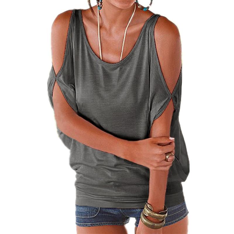 Plus la taille XXL D'été 2016 Femmes Coton t-shirt O cou à manches courtes Off épaule Sexy Lâche Occasionnel Femelle T-shirts Femme T-shirts Top