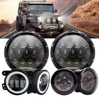 75w 7 Inch Round LED Headlight With 4 Inch 30W LED Fog Lights W Halo Ring